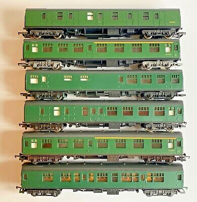 Lima 00 Gauge - Rake Of 6 Assorted Sr Southern Green Passenger Coaches Unboxed • 63.04€