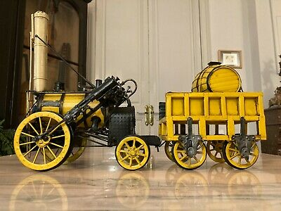 HANDMADE 1829 YELLOW STEPHENSON ROCKET Steam Engine Locomotive Model 100% Iron • 95€
