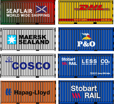 00 Gauge Model Railway Containers Ship Yard Scene Stobart Rail P&O DHL Cosco Hap • 1.11€