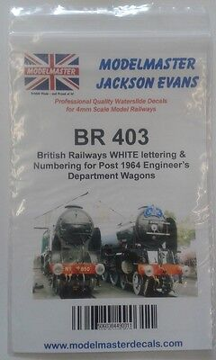 Sheet Of Decals For BR 1965-90s Engineering Dept. Wagons Modelmaster MMBR403 L1 • 11.51€