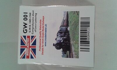 Lettering Decals For GWR Loco (1889-1948) - Modelmaster MMGW001 L1 • 11.58€