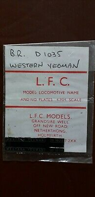 LFC OO Etched Number & Nameplates - D1035 Western Yeoman • 3.30€