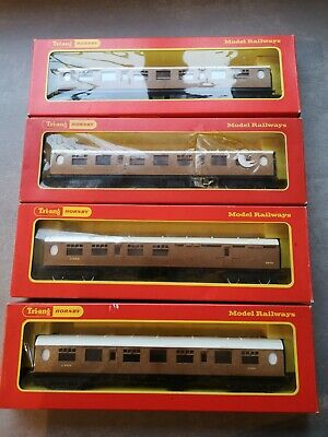 4 Triang - Hornby LNER Brake And Full 3rd Coaches Ref R745 & R746 00 Gauge Vgc • 11.81€