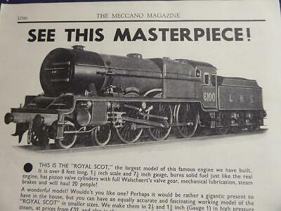 1934 Bassett Lowe Advert For 1½ Inch Scale Royal Scot What Would It Be Worth Now • 5.63€