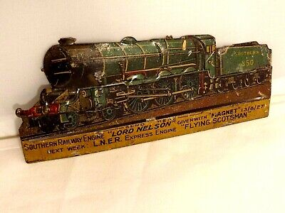 Ancien Jouet Plaque Publicitaire Tôle Train Locomotive Relief 1920 LORD NELSON • 75€
