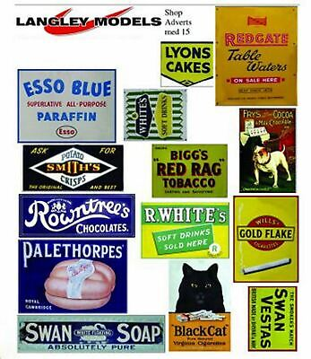 Shop Signs Small Paper Copy Of Enamel Signs SMF14n Colour OO Scale Models Decals • 3.91€