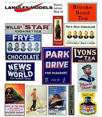 Station Ads Small Paper Copy Of Enamel Signs SMF17n Colour OO Scale Model Decals • 3.91€