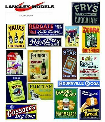 Street Ads Large Paper Copy Enamel Signs SMF22n Colour OO Scale Models Decals • 5.93€
