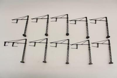 10 X Cast Metal Catenary Masts Supports Extended Arms HO Gauge Railway S17 • 43.19€