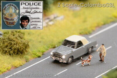 Spur Z Scale 1:220 Mini Club Model Peugeot 403 Lt.Colombo With Front/rear Lights • 46€