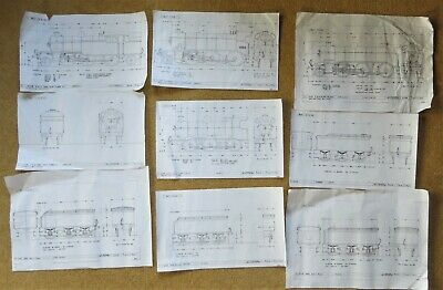 9 Model Railway Scale Drawings 0 Gauge GNR + LNER Steam Modelling Picture Prints • 29.25€