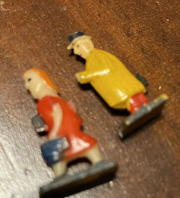 """Vintage Tiny 1"""" Figures Man Lady Bright Painted Old Toys Miniatures  Railway ? • 2.82€"""