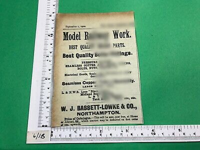 W.J. Bassett-Lowke Antique Vintage Early Advert 1902 Model Railway Northampton • 9.57€