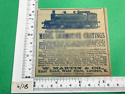 W. Martin & Co. Advert 1902 West Ham London Vintage Early Model Railway • 9.57€