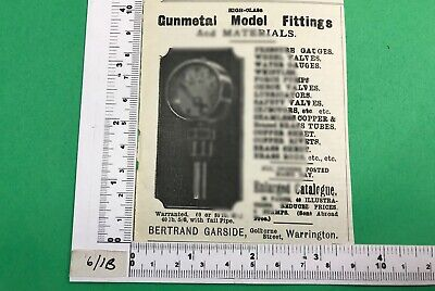 Bertrand Garside Warrington Advert 1902 Vintage Early Model Railway Fittings • 4.10€