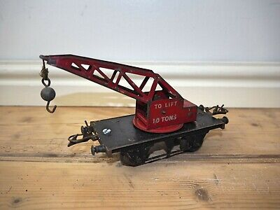 VINTAGE HORNBY MECCANO  O-gauge To Lift 10 Tons RED & BLACK CRANE CARRIAGE • 16.99€