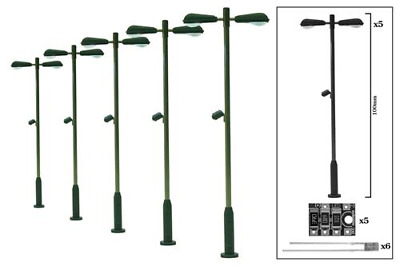 DCC Concepts DML-MLD5 Modern Double Head Station Lamp (5 Pack) OO Gauge • 44.74€