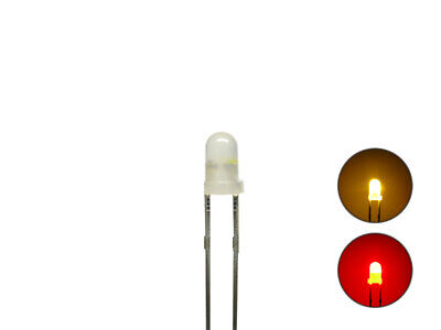 S1052 -20 Stück DUO LEDs 3mm Bi-Color Diffus Gelb Rot Lichtwechsel Loks Wendezug • 10.22€