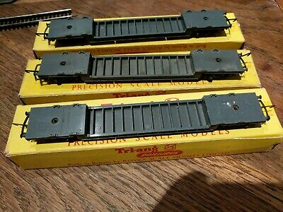 3 X TRIANG TT T173 BOGIE WELL WAGONS, BOXED • 33.50€
