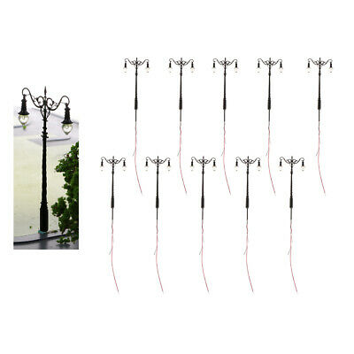 10Pcs Mini Railway Train Park LED Light Lamp Post Lamposts S 1:64 Disposition De • 37.49€