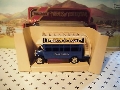 Matchbox Yesteryear 1922 AEC Omnibus East Surrey Blue  Y23 Red Box • 11.34€