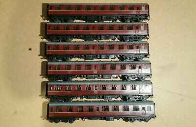 6x Rake Unbranded BR Mk1 Coaches Maroon Livery With Bachmann Couplings • 75.15€