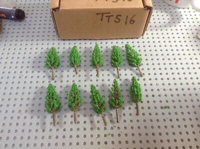 Z Scale   Set Of 10 Trees , Forest, Foliage, Scenery, Small Conifer Type (TTS16) • 4.28€