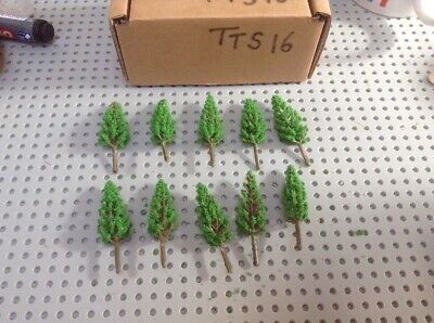 Z Scale   Set Of 10 Trees , Forest, Foliage, Scenery, Small Conifer Type (TTS16) • 4.26€
