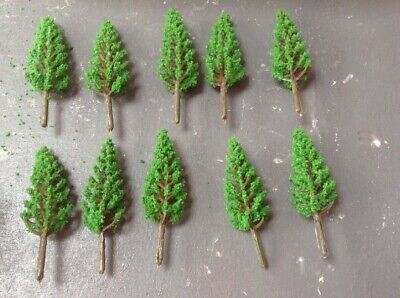Z Scale   Set Of 10 Trees , Forest, Foliage, Scenery, Small Conifer Type EBF24 • 4.26€