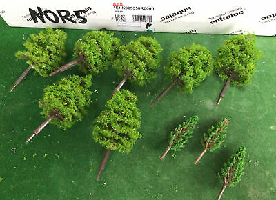 OO/HO Scale   Set Of 10 Trees , Forest, Foliage, Scenery, 2 Tree Types (NOR5) • 6.93€