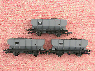 Dapol B585: Three Br 21 Ton Hopper Wagons - Grey - E289595k - Excellent - Boxed • 9.05€