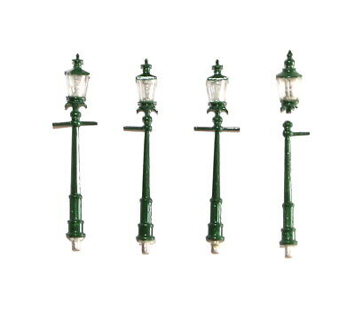 4x Model Railway Mike's Models Tapered Gas Lamps White Metal OO 4mm • 2.32€