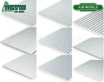 Evergreen Scale Models Styrene Textured Sheets Plastic Cladding Roof Clapboard • 14.36€