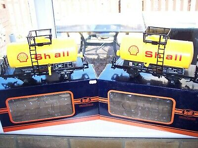 2 Train G Scale Model Railway 'shell' Tanker Wagons - Boxed   (rolling Stock) • 41.48€