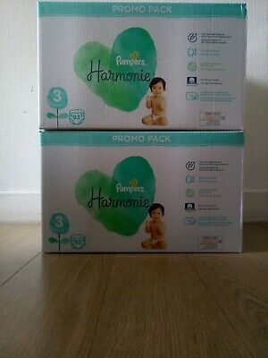 Lot De 2 Packs Couches Pampers Harmonie Taille 3 (186 Couches) • 40€