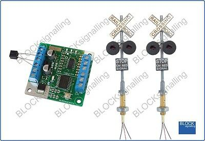 BLOCKsignalling Railroad Level Grade Crossing Module OO HO Led Lights Wig Wag US • 30.50€