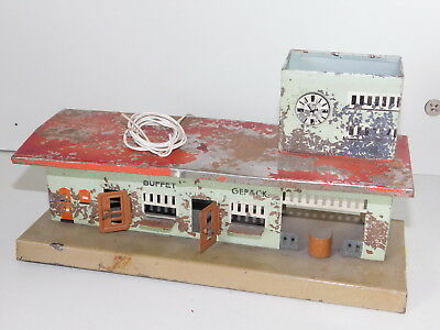 KIBRI Vintage GERMAN RAILWAY RAILROAD STATION GARE En METAL TIN TOY Train BUFFET • 30€