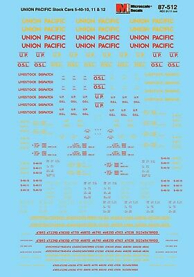 MicroScale 87512 Decal H0 - Union Pacific 5-40-10/11/12 Stock Cars (87-512) • 9.40€